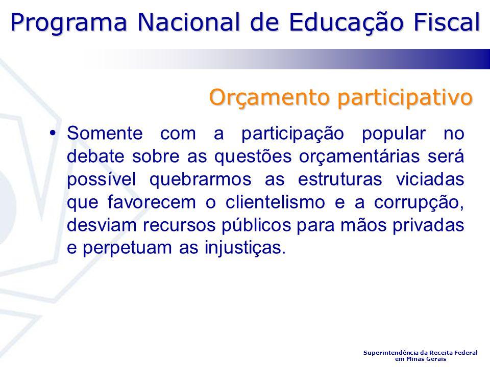 Programa Nacional de Educação Fiscal Superintendência da Receita Federal em Minas Gerais Orçamento participativo Somente com a participação popular no
