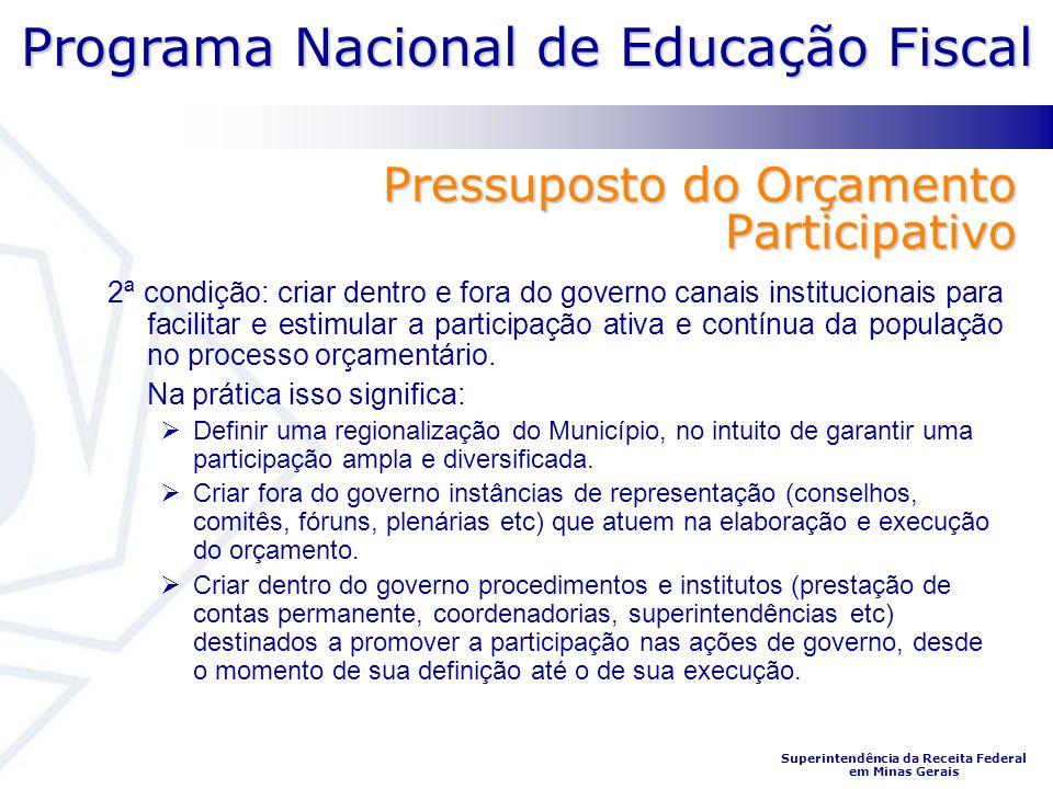 Programa Nacional de Educação Fiscal Superintendência da Receita Federal em Minas Gerais Pressuposto do Orçamento Participativo 2ª condição: criar den