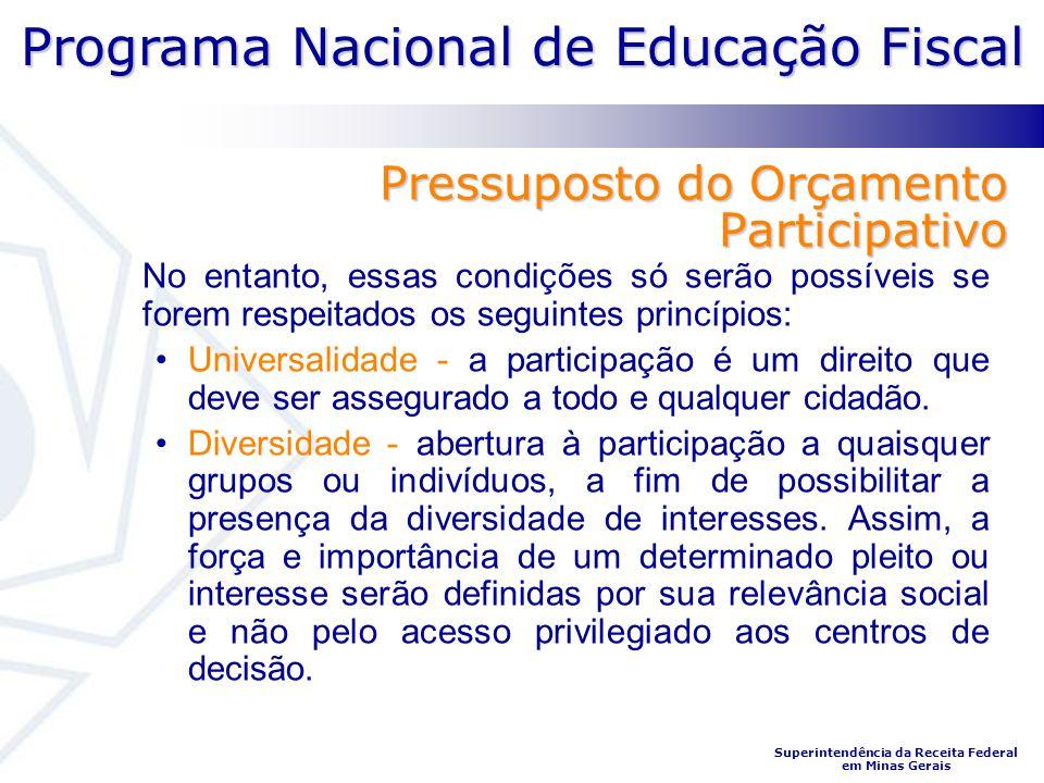 Programa Nacional de Educação Fiscal Superintendência da Receita Federal em Minas Gerais Pressuposto do Orçamento Participativo No entanto, essas cond