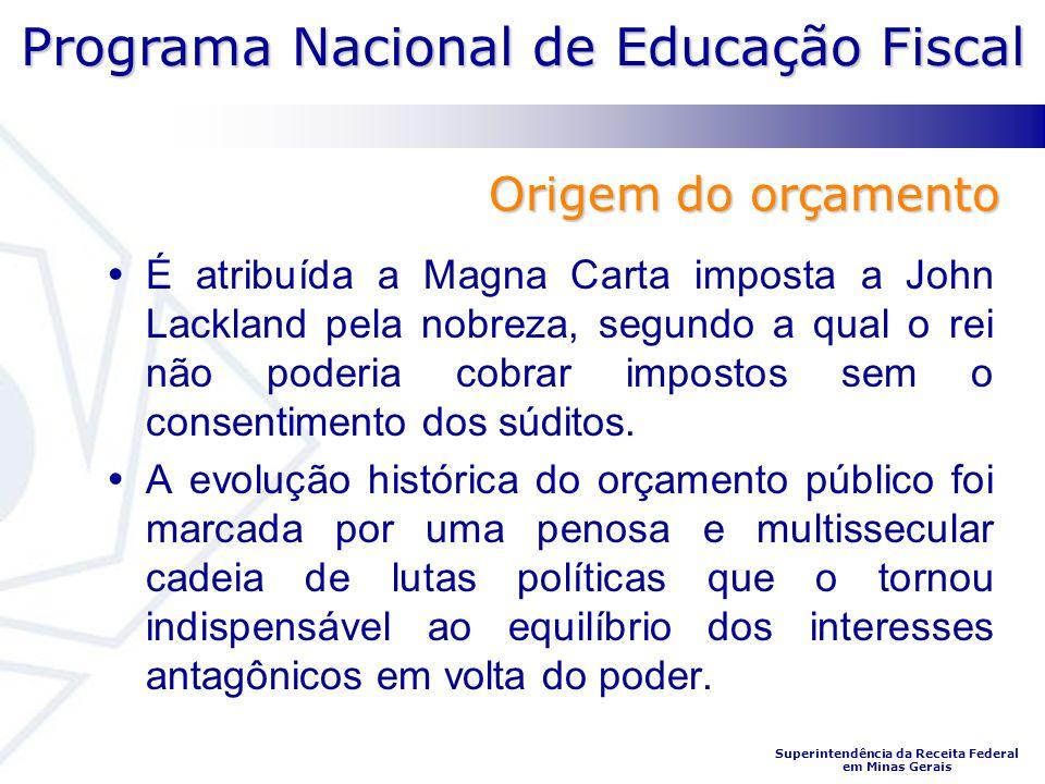 Programa Nacional de Educação Fiscal Superintendência da Receita Federal em Minas Gerais É atribuída a Magna Carta imposta a John Lackland pela nobrez