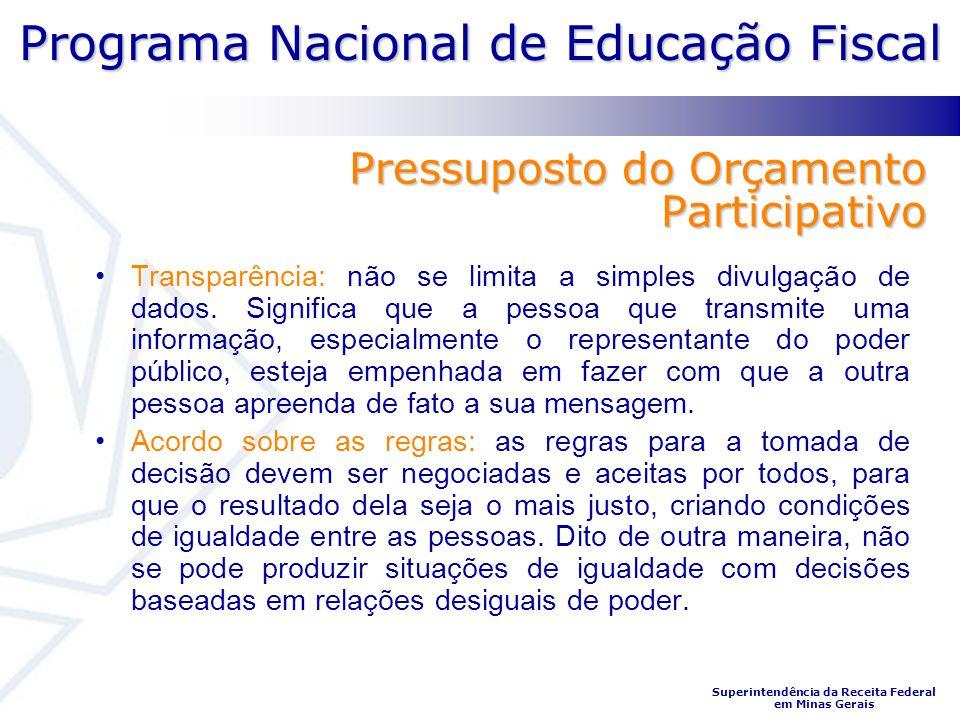 Programa Nacional de Educação Fiscal Superintendência da Receita Federal em Minas Gerais Pressuposto do Orçamento Participativo Transparência: não se
