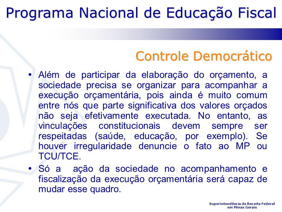 Programa Nacional de Educação Fiscal Superintendência da Receita Federal em Minas Gerais Controle Democrático Além de participar da elaboração do orça