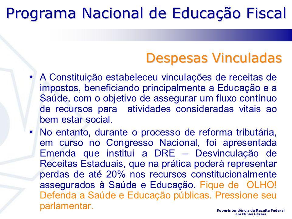 Programa Nacional de Educação Fiscal Superintendência da Receita Federal em Minas Gerais Despesas Vinculadas A Constituição estabeleceu vinculações de