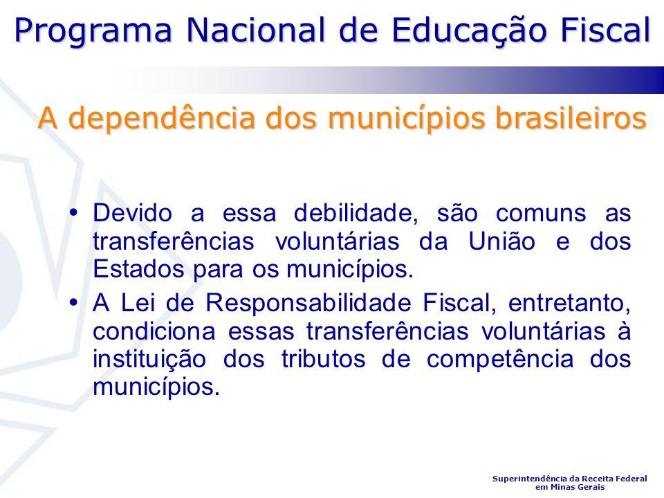 Programa Nacional de Educação Fiscal Superintendência da Receita Federal em Minas Gerais Devido a essa debilidade, são comuns as transferências volunt