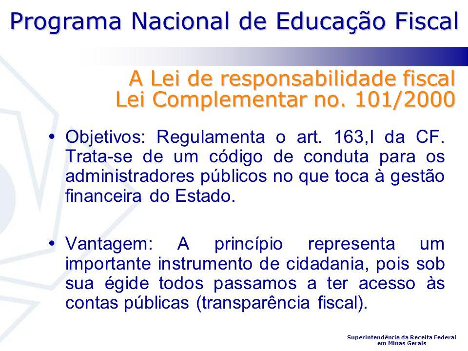 Programa Nacional de Educação Fiscal Superintendência da Receita Federal em Minas Gerais Objetivos: Regulamenta o art. 163,I da CF. Trata-se de um cód