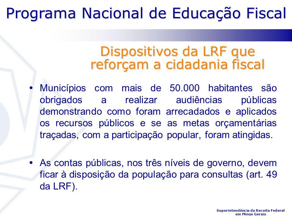 Programa Nacional de Educação Fiscal Superintendência da Receita Federal em Minas Gerais Dispositivos da LRF que reforçam a cidadania fiscal Município