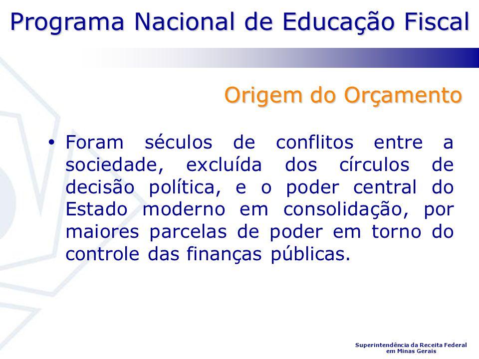 Programa Nacional de Educação Fiscal Superintendência da Receita Federal em Minas Gerais Origem do Orçamento Foram séculos de conflitos entre a socied