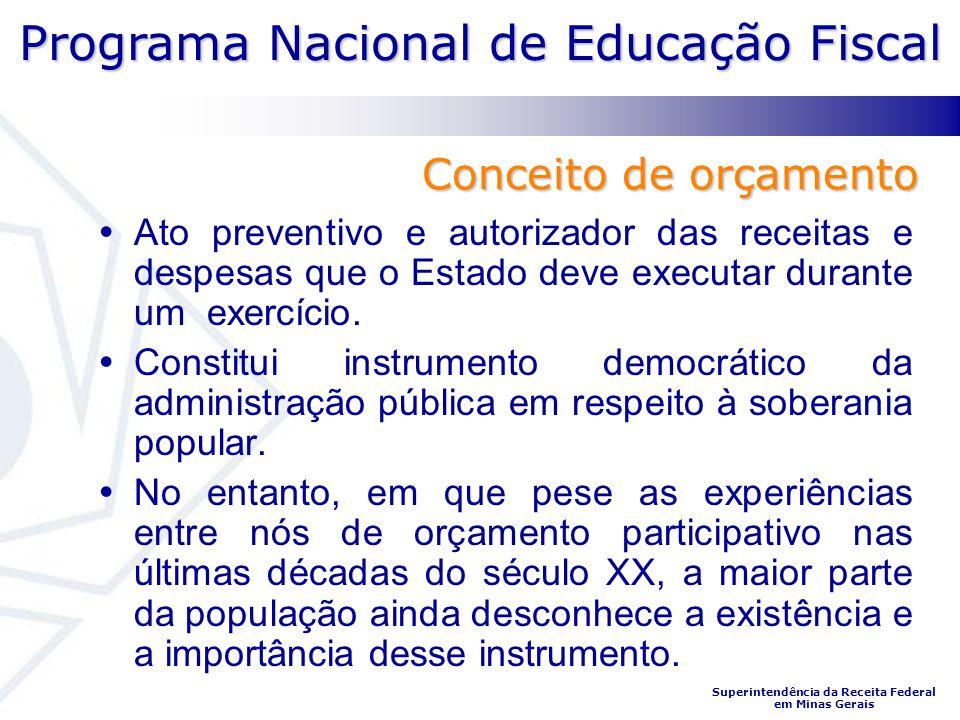 Programa Nacional de Educação Fiscal Superintendência da Receita Federal em Minas Gerais O orçamento público é uma espécie de contrato de realizações entre o governo e a sociedade.