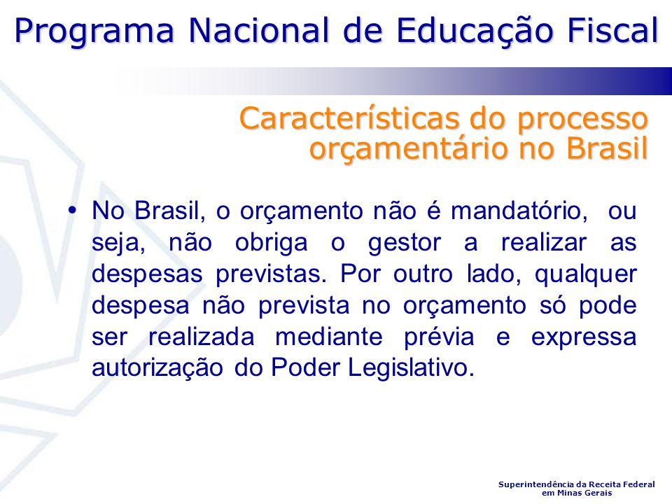Programa Nacional de Educação Fiscal Superintendência da Receita Federal em Minas Gerais Características do processo orçamentário no Brasil No Brasil,