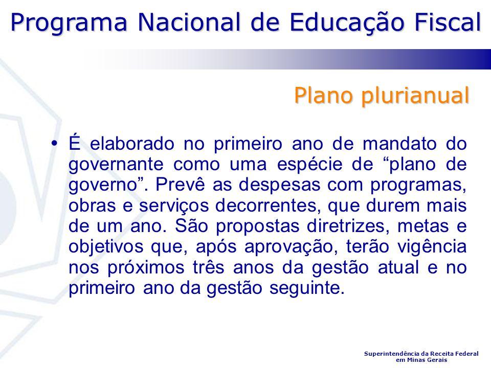 Programa Nacional de Educação Fiscal Superintendência da Receita Federal em Minas Gerais É elaborado no primeiro ano de mandato do governante como uma