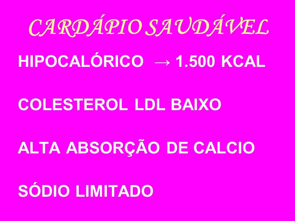 CARDÁPIO SAUDÁVEL HIPOCALÓRICO 1.500 KCAL COLESTEROL LDL BAIXO ALTA ABSORÇÃO DE CALCIO SÓDIO LIMITADO