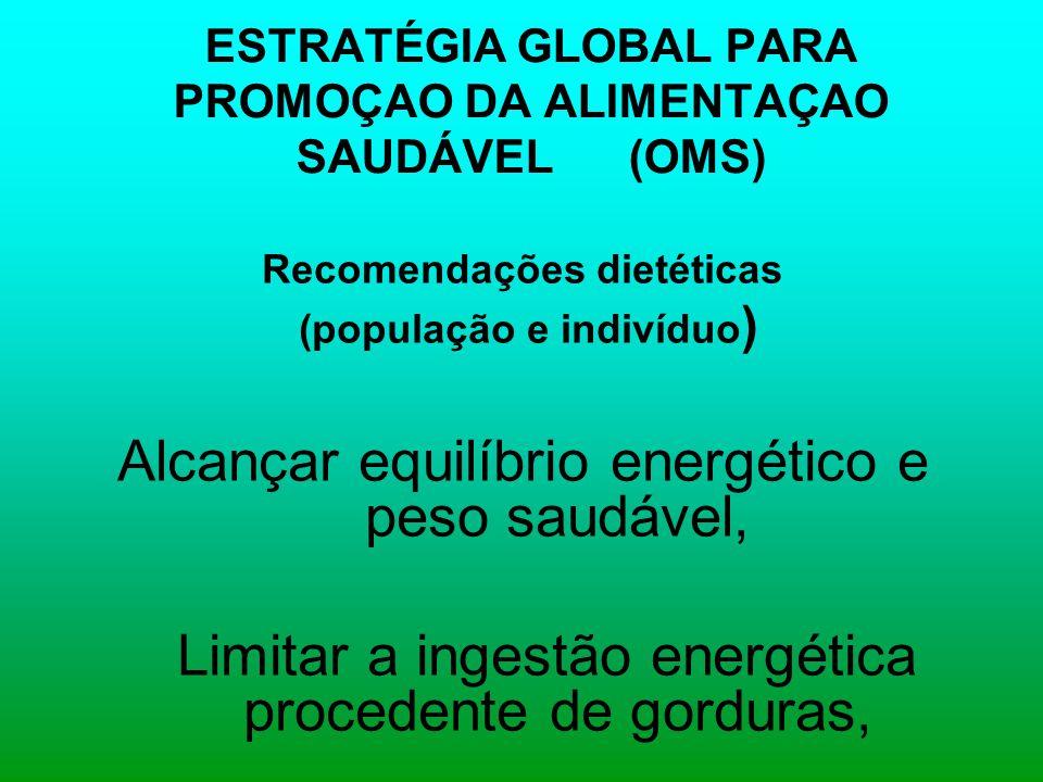 ESTRATÉGIA GLOBAL PARA PROMOÇAO DA ALIMENTAÇAO SAUDÁVEL (OMS) Recomendações dietéticas (população e indivíduo ) Alcançar equilíbrio energético e peso saudável, Limitar a ingestão energética procedente de gorduras,