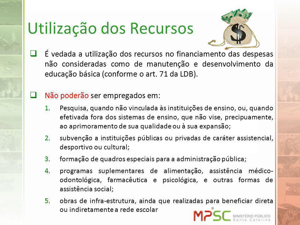 Utilização dos Recursos É vedada a utilização dos recursos no financiamento das despesas não consideradas como de manutenção e desenvolvimento da educ
