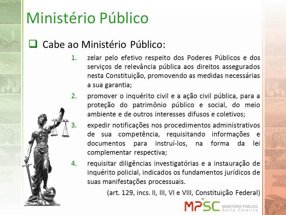 Ministério Público Cabe ao Ministério Público: 1.zelar pelo efetivo respeito dos Poderes Públicos e dos serviços de relevância pública aos direitos as