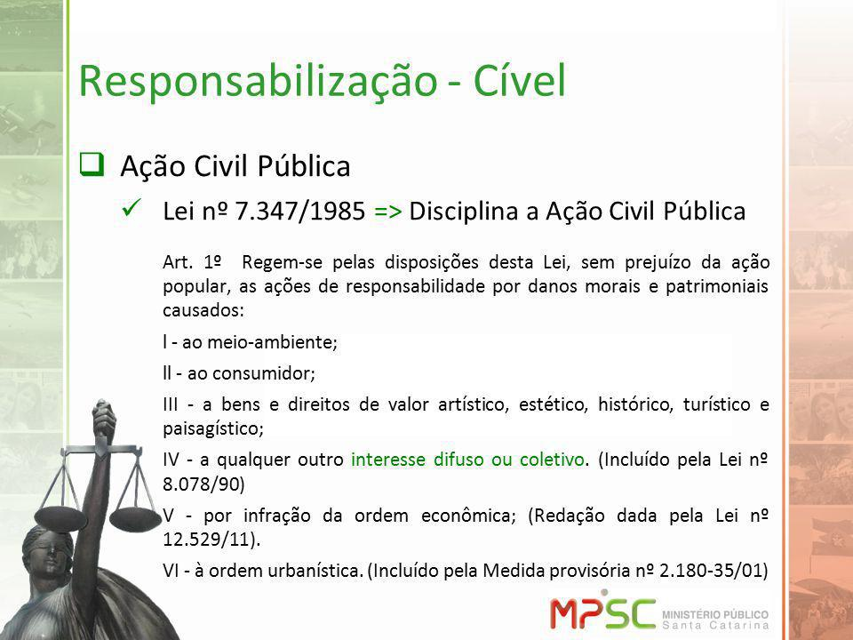 Responsabilização - Cível Ação Civil Pública Lei nº 7.347/1985 => Disciplina a Ação Civil Pública Art. 1º Regem-se pelas disposições desta Lei, sem pr