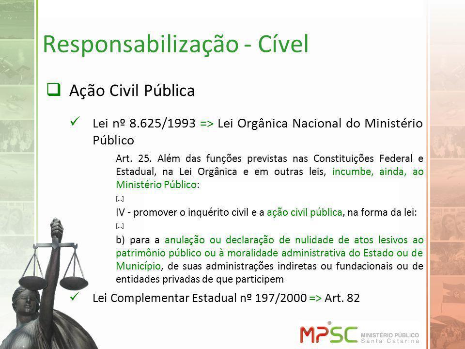 Responsabilização - Cível Ação Civil Pública Lei nº 8.625/1993 => Lei Orgânica Nacional do Ministério Público Art. 25. Além das funções previstas nas