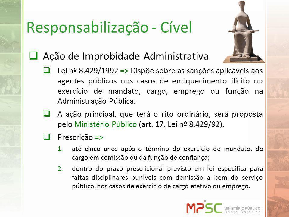 Responsabilização - Cível Ação de Improbidade Administrativa Lei nº 8.429/1992 => Dispõe sobre as sanções aplicáveis aos agentes públicos nos casos de