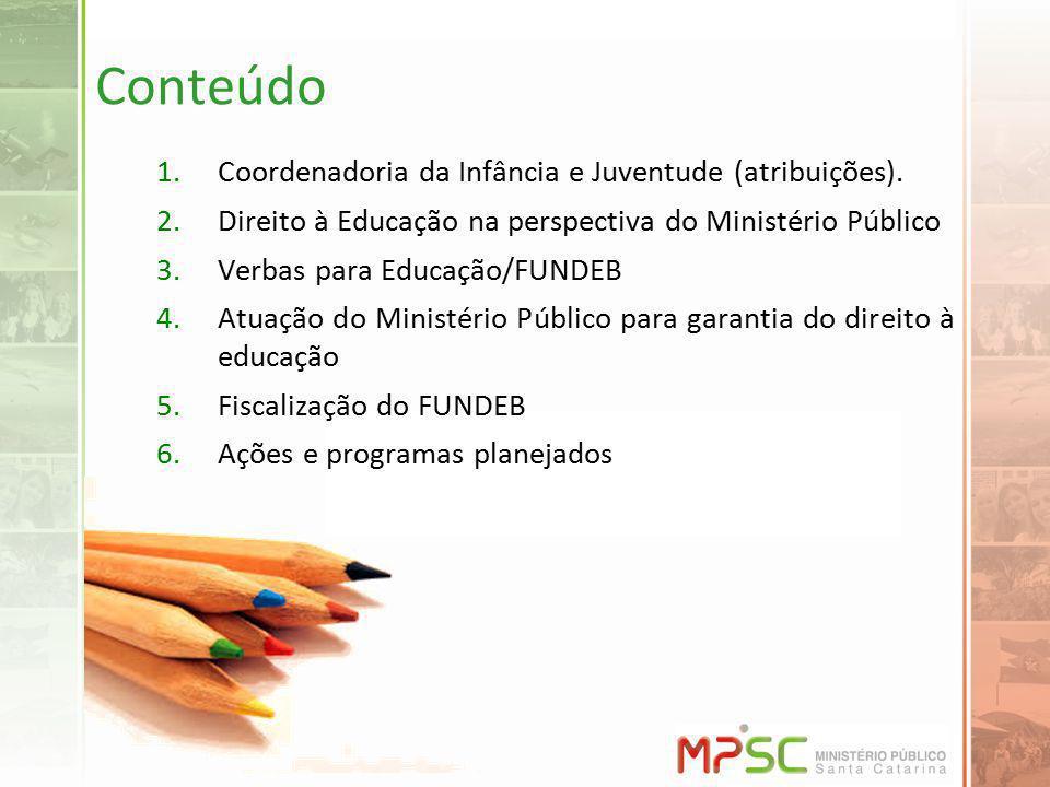 Conteúdo 1.Coordenadoria da Infância e Juventude (atribuições). 2.Direito à Educação na perspectiva do Ministério Público 3.Verbas para Educação/FUNDE