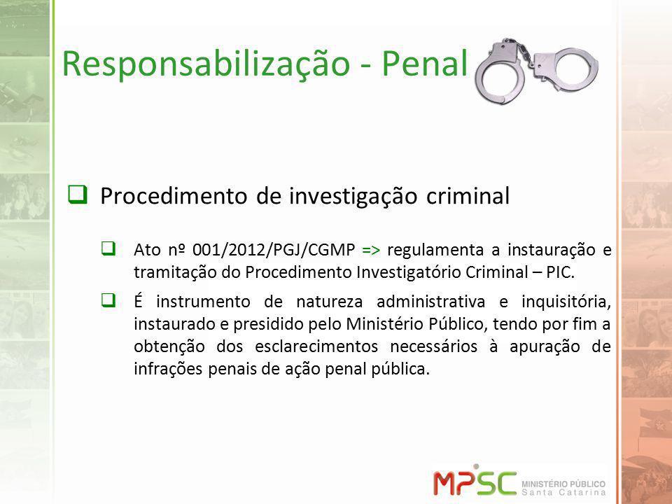 Responsabilização - Penal Procedimento de investigação criminal Ato nº 001/2012/PGJ/CGMP => regulamenta a instauração e tramitação do Procedimento Investigatório Criminal – PIC.