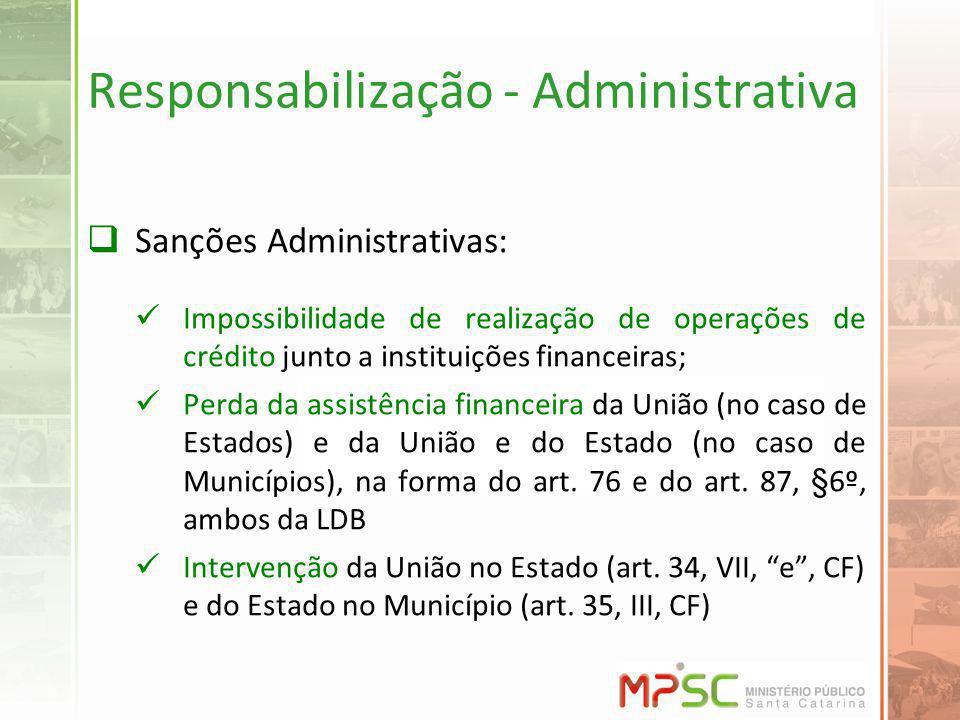 Responsabilização - Administrativa Sanções Administrativas: Impossibilidade de realização de operações de crédito junto a instituições financeiras; Perda da assistência financeira da União (no caso de Estados) e da União e do Estado (no caso de Municípios), na forma do art.
