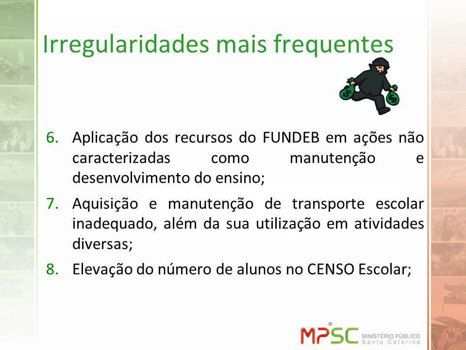 Irregularidades mais frequentes 6.Aplicação dos recursos do FUNDEB em ações não caracterizadas como manutenção e desenvolvimento do ensino; 7.Aquisiçã