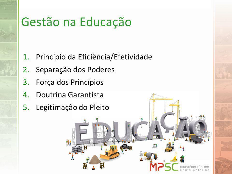 Gestão na Educação 1.Princípio da Eficiência/Efetividade 2.Separação dos Poderes 3.Força dos Princípios 4.Doutrina Garantista 5.Legitimação do Pleito