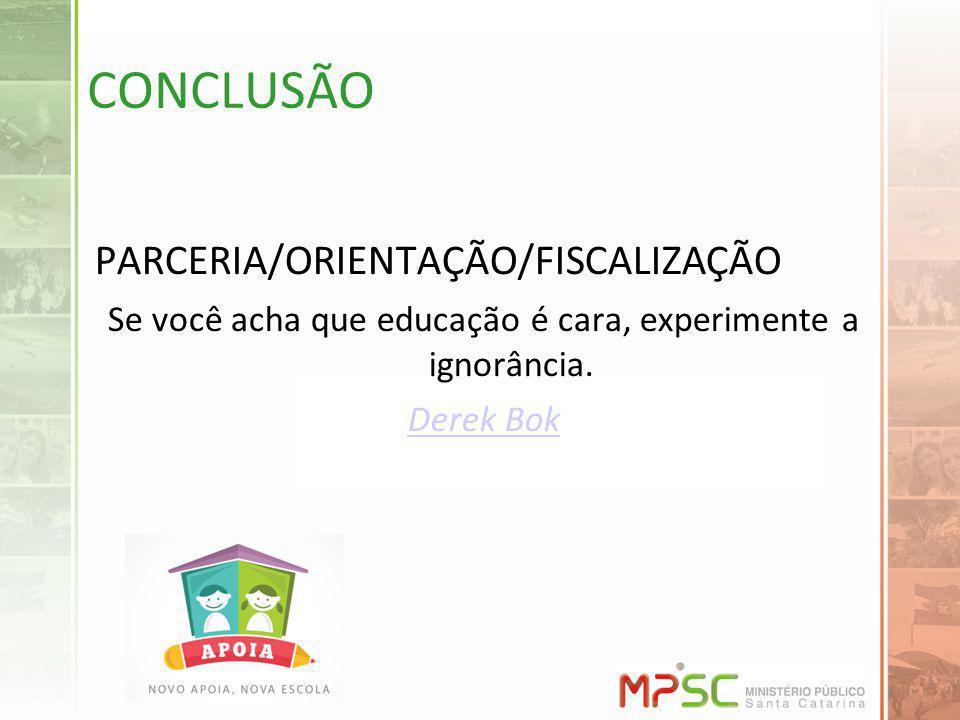 CONCLUSÃO PARCERIA/ORIENTAÇÃO/FISCALIZAÇÃO Se você acha que educação é cara, experimente a ignorância. Derek Bok