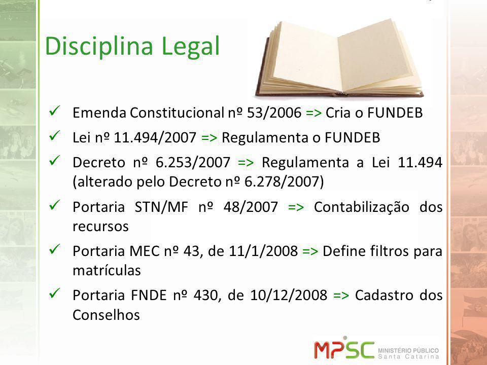 Disciplina Legal Emenda Constitucional nº 53/2006 => Cria o FUNDEB Lei nº 11.494/2007 => Regulamenta o FUNDEB Decreto nº 6.253/2007 => Regulamenta a Lei 11.494 (alterado pelo Decreto nº 6.278/2007) Portaria STN/MF nº 48/2007 => Contabilização dos recursos Portaria MEC nº 43, de 11/1/2008 => Define filtros para matrículas Portaria FNDE nº 430, de 10/12/2008 => Cadastro dos Conselhos