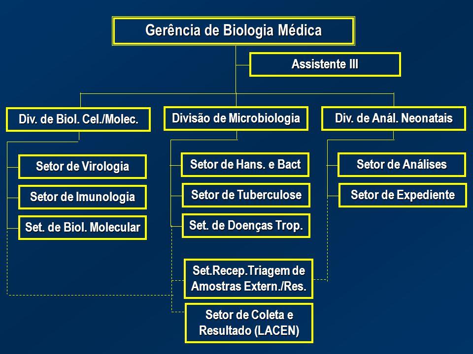 Gerência de Biologia Médica Assistente III Div. de Biol. Cel./Molec. Divisão de Microbiologia Div. de Anál. Neonatais Setor de Virologia Setor de Imun