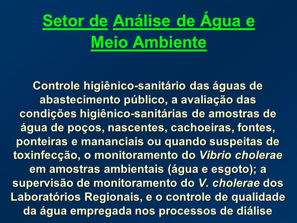 Setor de Análise de Água e Meio Ambiente Controle higiênico-sanitário das águas de abastecimento público, a avaliação das condições higiênico-sanitári