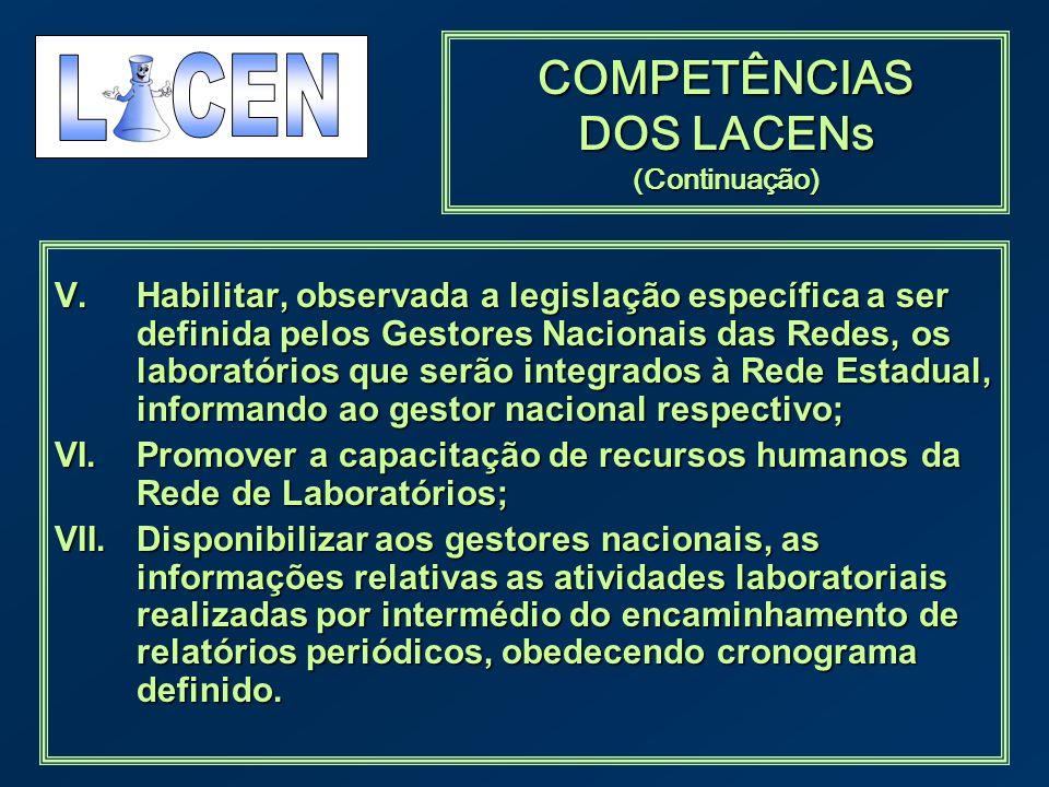 COMPETÊNCIAS DOS LACENs (Continuação) V.Habilitar, observada a legislação específica a ser definida pelos Gestores Nacionais das Redes, os laboratório