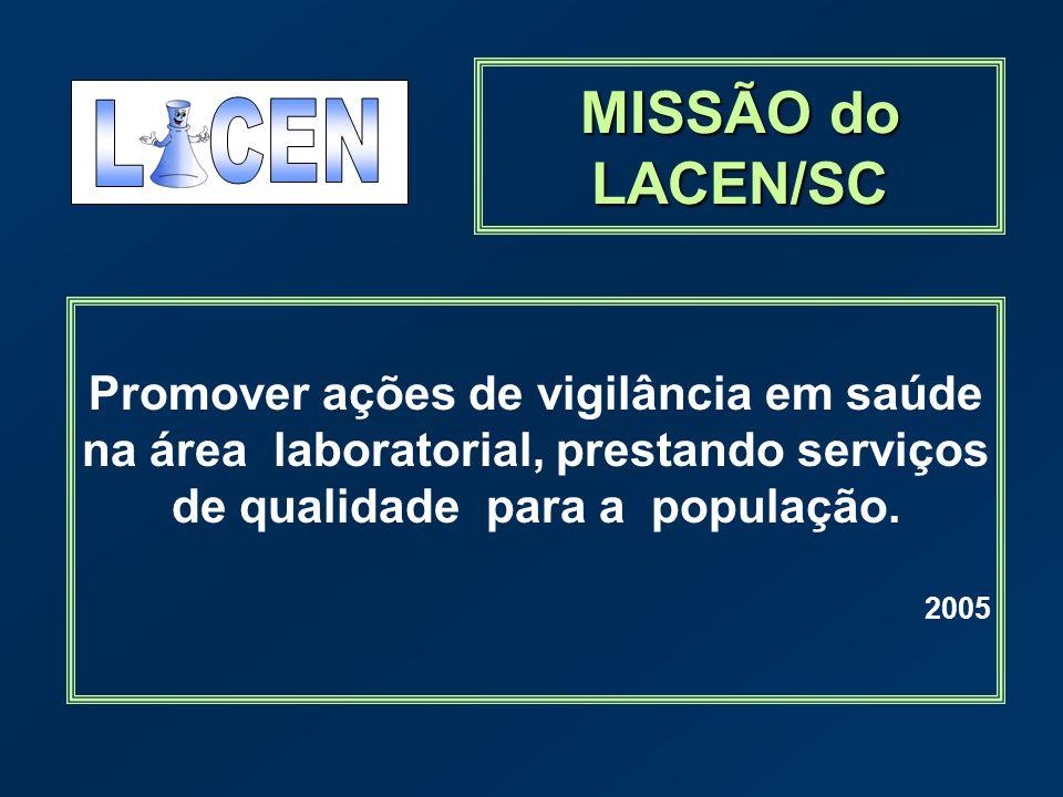 MISSÃO do LACEN/SC Promover ações de vigilância em saúde na área laboratorial, prestando serviços de qualidade para a população. 2005