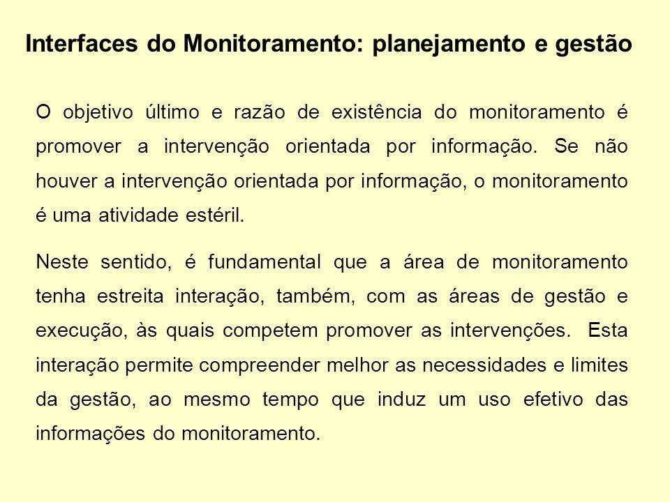 O objetivo último e razão de existência do monitoramento é promover a intervenção orientada por informação. Se não houver a intervenção orientada por