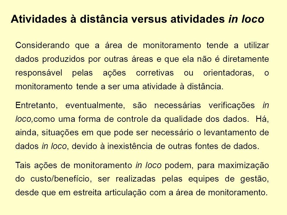 Atividades à distância versus atividades in loco Considerando que a área de monitoramento tende a utilizar dados produzidos por outras áreas e que ela
