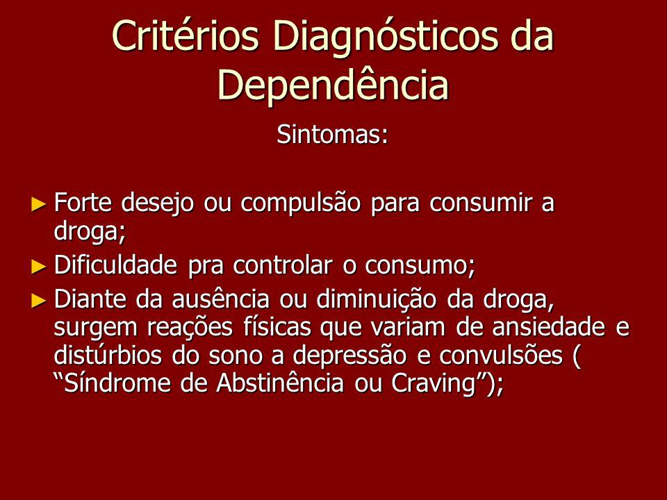 Critérios Diagnósticos da Dependência Sintomas: Forte desejo ou compulsão para consumir a droga; Forte desejo ou compulsão para consumir a droga; Difi