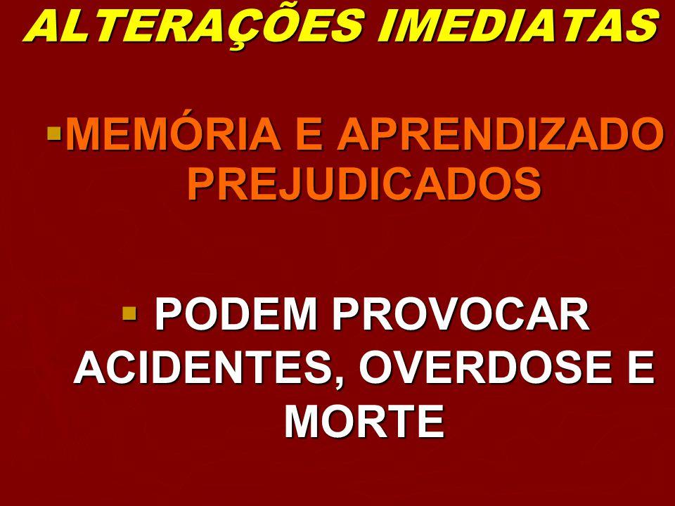 ALTERAÇÕES IMEDIATAS MEMÓRIA E APRENDIZADO PREJUDICADOS MEMÓRIA E APRENDIZADO PREJUDICADOS PODEM PROVOCAR ACIDENTES, OVERDOSE E MORTE PODEM PROVOCAR A
