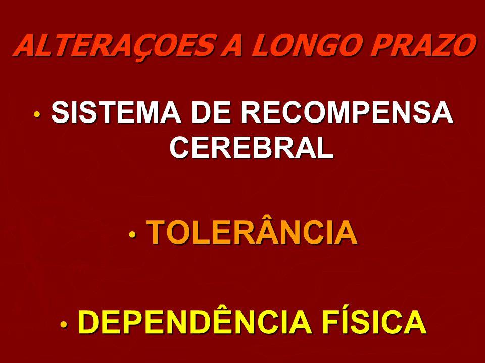 ALTERAÇOES A LONGO PRAZO SISTEMA DE RECOMPENSA CEREBRAL SISTEMA DE RECOMPENSA CEREBRAL TOLERÂNCIA TOLERÂNCIA DEPENDÊNCIA FÍSICA DEPENDÊNCIA FÍSICA