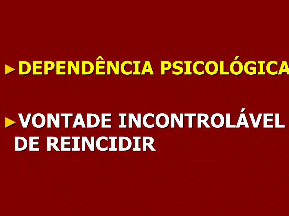 DEPENDÊNCIA PSICOLÓGICA DEPENDÊNCIA PSICOLÓGICA VONTADE INCONTROLÁVEL DE REINCIDIR VONTADE INCONTROLÁVEL DE REINCIDIR