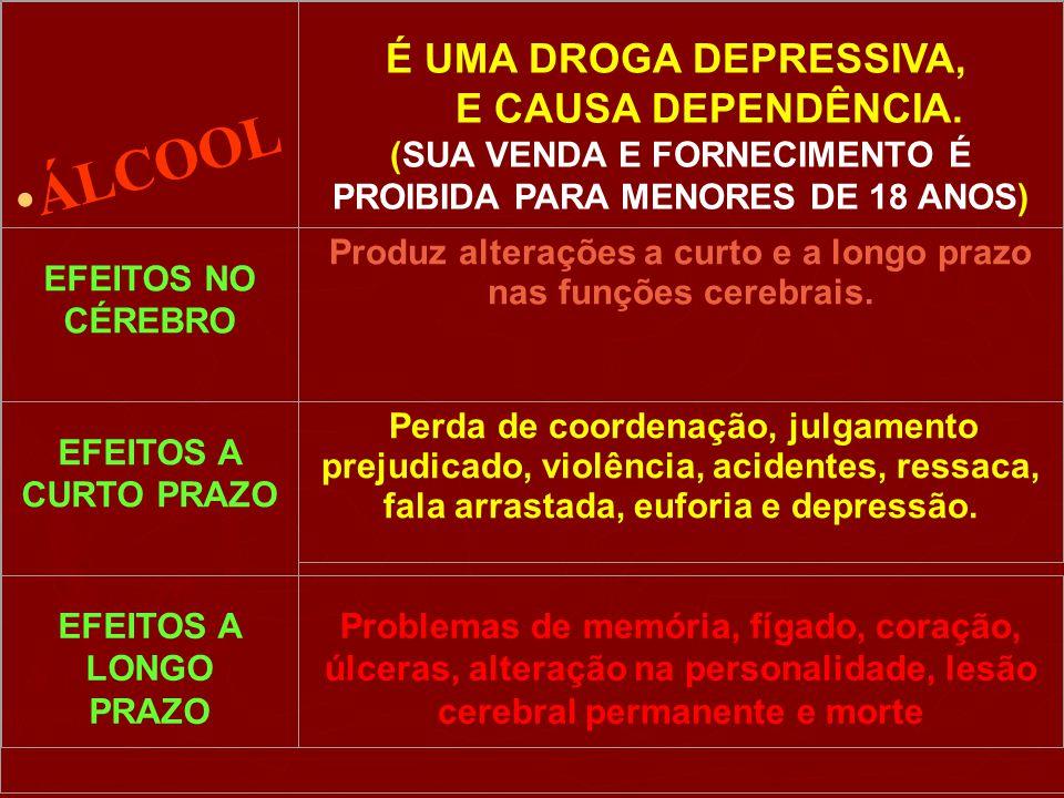É UMA DROGA DEPRESSIVA, E CAUSA DEPENDÊNCIA. (SUA VENDA E FORNECIMENTO É PROIBIDA PARA MENORES DE 18 ANOS) EFEITOS NO CÉREBRO Produz alterações a curt