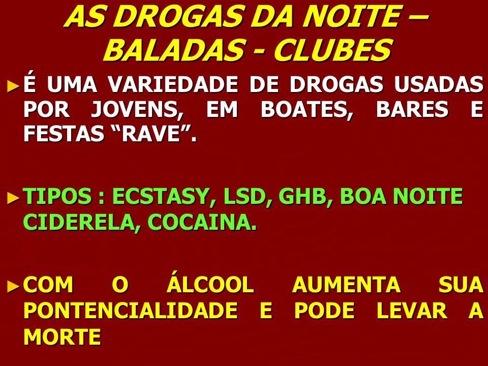 AS DROGAS DA NOITE – BALADAS - CLUBES É UMA VARIEDADE DE DROGAS USADAS POR JOVENS, EM BOATES, BARES E FESTAS RAVE. É UMA VARIEDADE DE DROGAS USADAS PO