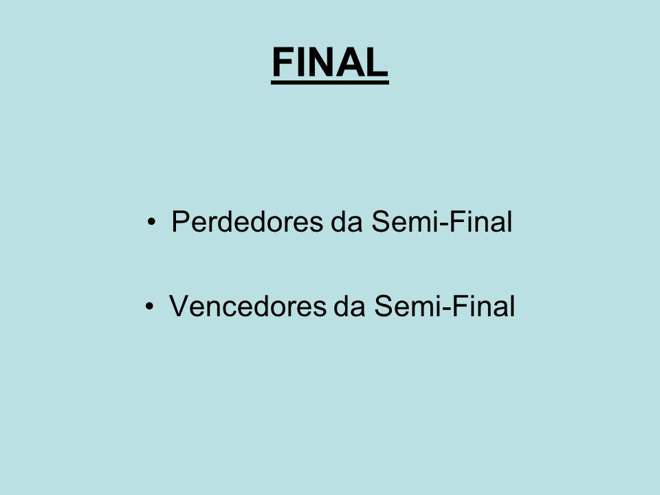 FINAL Perdedores da Semi-Final Vencedores da Semi-Final