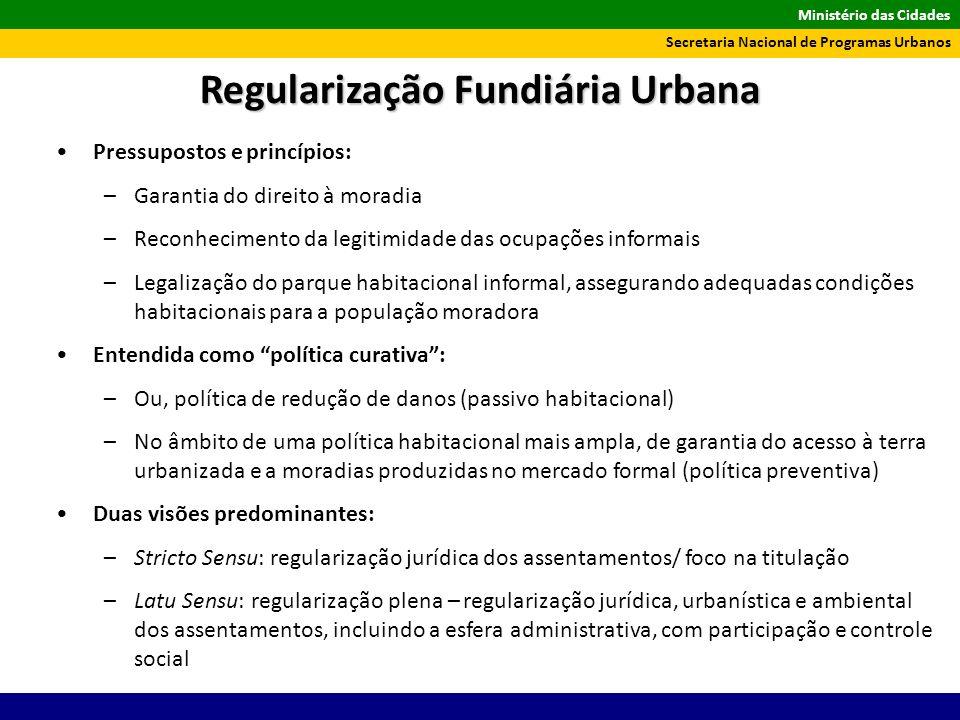 Ministério das Cidades Secretaria Nacional de Programas Urbanos Pressupostos e princípios: –Garantia do direito à moradia –Reconhecimento da legitimid