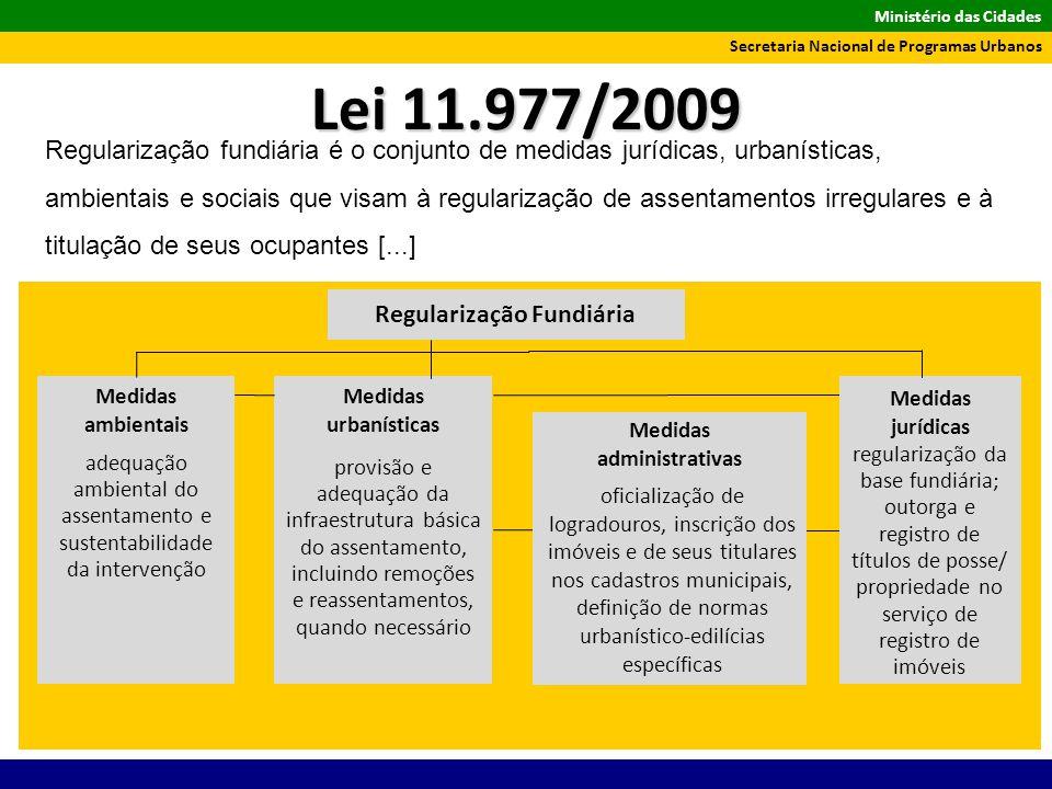 Ministério das Cidades Secretaria Nacional de Programas Urbanos Regularização fundiária é o conjunto de medidas jurídicas, urbanísticas, ambientais e