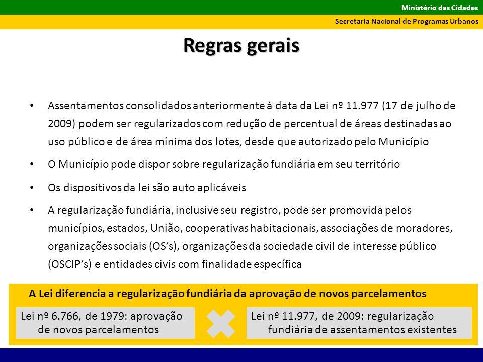 Ministério das Cidades Secretaria Nacional de Programas Urbanos Assentamentos consolidados anteriormente à data da Lei nº 11.977 (17 de julho de 2009)