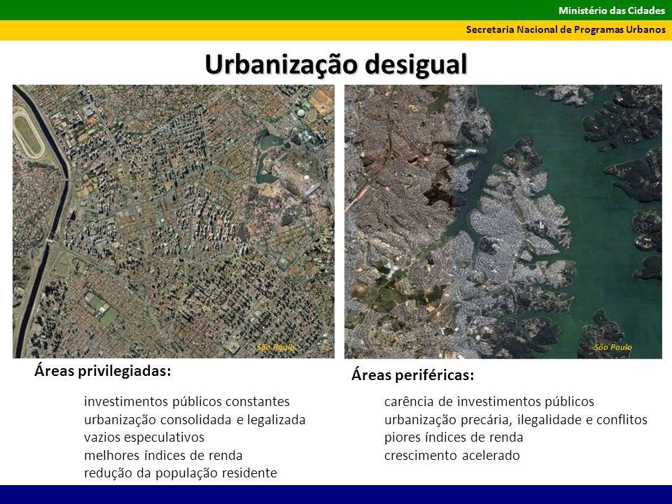 Ministério das Cidades Secretaria Nacional de Programas Urbanos São Paulo investimentos públicos constantes urbanização consolidada e legalizada vazio