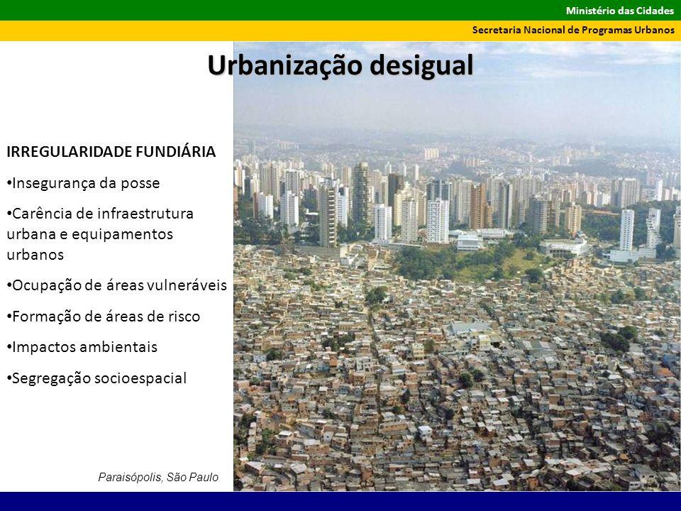 Ministério das Cidades Secretaria Nacional de Programas Urbanos Paraisópolis, São Paulo IRREGULARIDADE FUNDIÁRIA Insegurança da posse Carência de infr