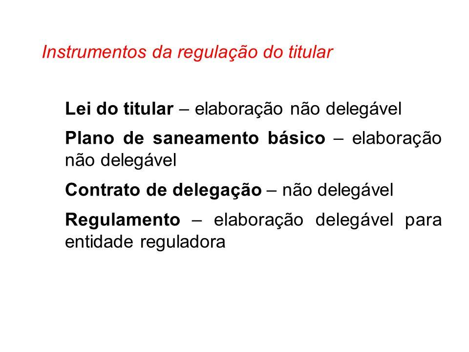 Instrumentos da regulação do titular Lei do titular – elaboração não delegável Plano de saneamento básico – elaboração não delegável Contrato de deleg