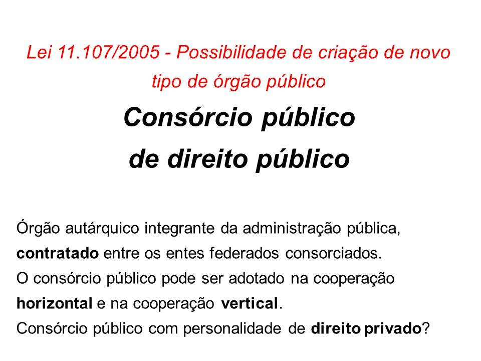 Lei 11.107/2005 - Possibilidade de criação de novo tipo de órgão público Consórcio público de direito público Órgão autárquico integrante da administr