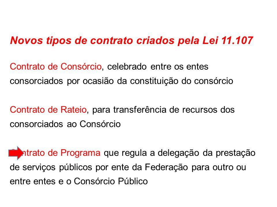 Novos tipos de contrato criados pela Lei 11.107 Contrato de Consórcio, celebrado entre os entes consorciados por ocasião da constituição do consórcio