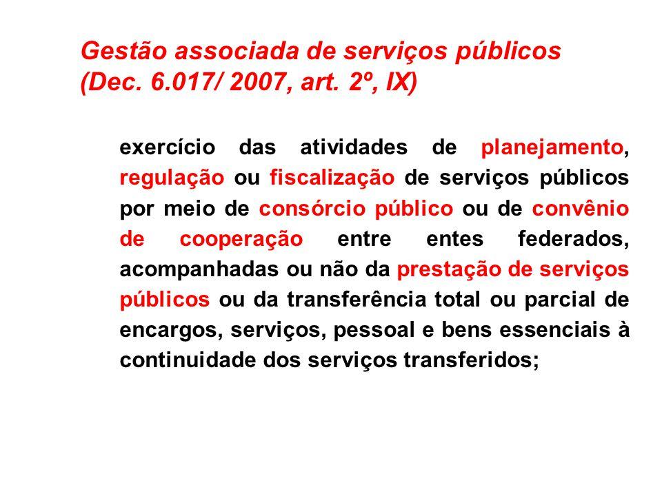 Gestão associada de serviços públicos (Dec. 6.017/ 2007, art. 2º, IX) exercício das atividades de planejamento, regulação ou fiscalização de serviços
